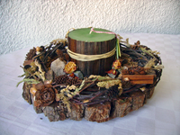 Candle for table on pine stump-1